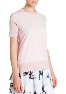 Ribbed-Trim Short-Sleeve Sweater   Ribbed-Trim Short-Sleeve Sweater