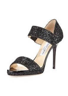 Alana Double-Banded Glitter Sandal, Black   Alana Double-Banded Glitter Sandal, Black