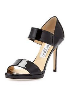 Alana Patent Double-Band Sandal, Black   Alana Patent Double-Band Sandal, Black