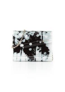 Candy Palm-Print Asymmetric Clutch Bag, Black/White   Candy Palm-Print Asymmetric Clutch Bag, Black/White