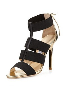 Dario Leather Ladder Sandal, Black/Gold   Dario Leather Ladder Sandal, Black/Gold