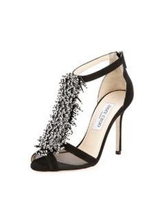 Feline Beaded T-Strap Sandal, Black   Feline Beaded T-Strap Sandal, Black