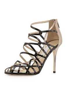 Fiscal Strappy Woven Leather Sandal, Black/Nude   Fiscal Strappy Woven Leather Sandal, Black/Nude