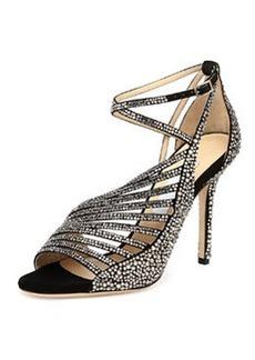 Florry Asymmetric Strappy Sandal, Black   Florry Asymmetric Strappy Sandal, Black