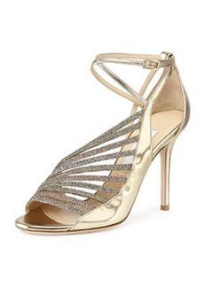 Florry Asymmetric Strappy Sandal, Gold Mix   Florry Asymmetric Strappy Sandal, Gold Mix