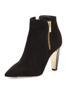 Hughie Side-Zip Suede Ankle Boot, Black   Hughie Side-Zip Suede Ankle Boot, Black