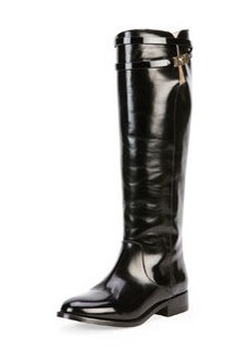 Hyson Belted Leather Knee Boot, Black   Hyson Belted Leather Knee Boot, Black