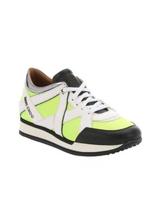Jimmy Choo acid yellow and white leather 'London' mixed media sneakers