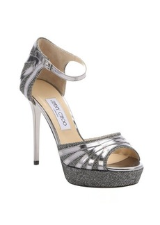 Jimmy Choo anthracite leather and lame glitter 'Deema' platform sandals