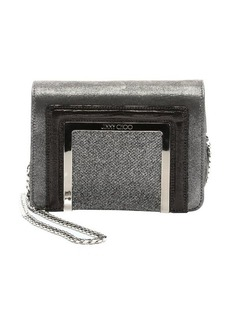 Jimmy Choo anthracite suede and glitter fabric 'Ava' mini shoulder bag