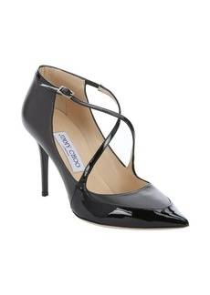 Jimmy Choo asphalt black leather 'Madera' strappy pumps