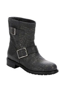 Jimmy Choo asphalt crushed shiny leather 'Youth' biker ankle booties