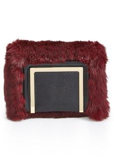 Jimmy Choo 'Ava' Genuine Rabbit Fur Clutch