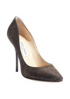 Jimmy Choo black and amber shimmering canvas 'Mimi' pumps