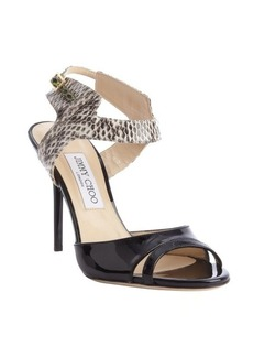Jimmy Choo black and brown leather and snakeskin 'Marcia' heel sandals