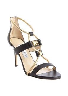 Jimmy Choo black and gold band detail 'Vernice' sandals