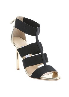 Jimmy Choo black and gold elastic strappy 'Dario' lace-up detail sandals