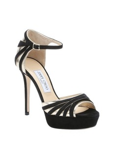Jimmy Choo black and gold leather and suede 'Deema' platform sandals