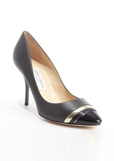 Jimmy Choo black and gold leather cap toe 'Liana' pumps
