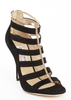 Jimmy Choo black and gold suede strappy '144 Fathom' pumps
