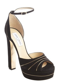 Jimmy Choo black and gold suede trimmed 'Larissa' platform pumps