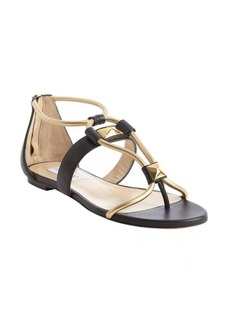 Jimmy Choo black and gold 'Valaire' piped stud sandals