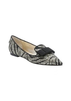 Jimmy Choo black and gold zebra glittered lace 'Gala' bow flats