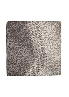 Jimmy Choo black and grey star and leopard print foulard woven square scarf