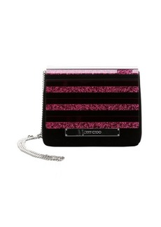Jimmy Choo black and hot pink suede and crystal acrylic 'Cleo' convertible clutch
