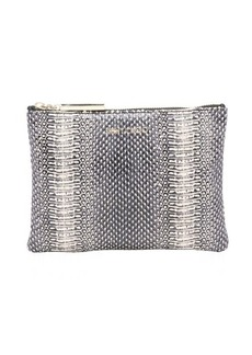 Jimmy Choo black and ivory python 'Nina' zip top cosmetic pouch