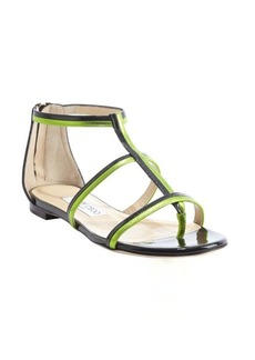 Jimmy Choo black and lime patent leather strappy rear zip sandals