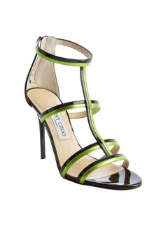 Jimmy Choo black and lime patent leather t-strap 'Thistle' sandals