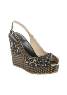 Jimmy Choo black and natural leopard print woven raffia 'Prova' wedges