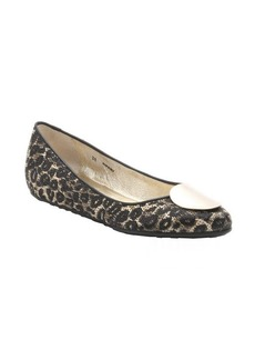 Jimmy Choo black and natural woven leopard raffia '151 Wray' ballet flats