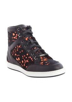 Jimmy Choo black and neon flame leather and embroidered detail high tip sneakers