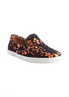 Jimmy Choo black and neon flame patent and lace 'Demi' slip-on sneakers