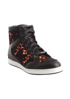 Jimmy Choo black and neon flame 'Tokyo' sneakers