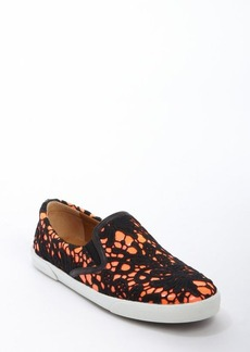 Jimmy Choo black and peach patent leather 'Demi' embroidered detail slip-on loafers
