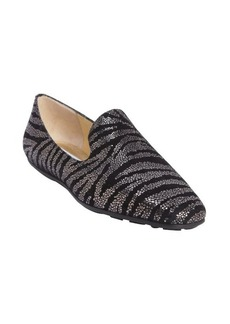 Jimmy Choo black and silver leather pattern printed slip-on loafers