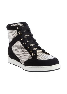 Jimmy Choo black and white snake embossed and suede hi-top sneakers