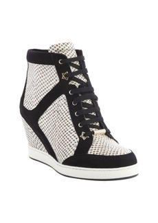 Jimmy Choo black and white snake embossed wedge heel '144 Preston' sneakers