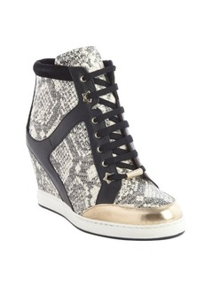 Jimmy Choo black and whtie snake embossed wedge heel '144 Preston' sneakers
