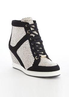 Jimmy Choo black and whtie snake embossed wedge heel '144 Preston' sneakers