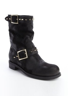 Jimmy Choo black blotched suede spike detail boots