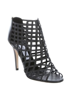 Jimmy Choo black caged leather 'Dassa' peep toe sandals