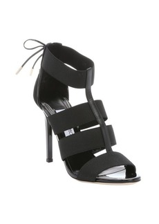 Jimmy Choo black elastic strappy 'Dario' lace-up detail sandals