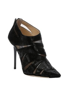 Jimmy Choo black fabric and snake print suede 'Warrant' rear zip ankle booties