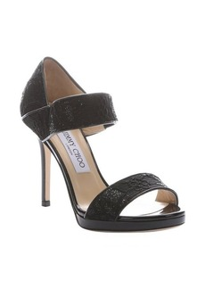 Jimmy Choo black floral glitter lace 'Alana' strappy sandals