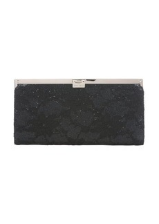 Jimmy Choo black floral lace and sequin 'Camille' metal frame clutch