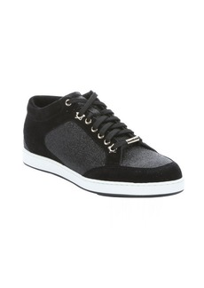 Jimmy Choo black glitter and suede 'Miami' lace-up sneakers